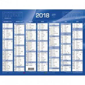 QUO VADIS Calendrier de 7 mois par face avec vacances scolaires en haut, format 13,5 x 18 cm bleu
