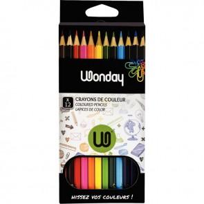 Etui de 12 crayons de couleurs assorties