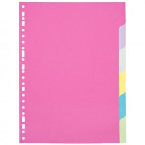 Jeu de 6 intercalaires à touches neutres A4 (21 x 29,7 cm) en carte forte dossier 170 g couleurs assorties
