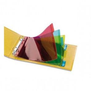 Intercalaires 4 touches plastique Elba. Jeu d'intercalaires pour fiches bristol 4 positions à onglets format 14,8x21 cm, en PVC 14/100e