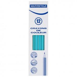 Boîte de 12 crayons de couleur Majuscule  bleu clair