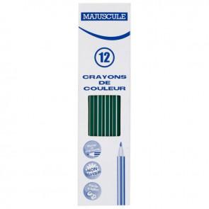 Boîte de 12 crayons de couleur Majuscule  vert foncé
