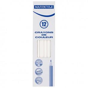 Boîte de 12 crayons de couleur Majuscule blanc