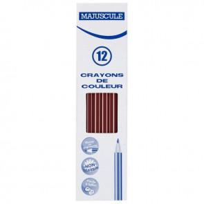 Boîte de 12 crayons de couleur Majuscule marron