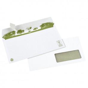 Boîte de 500 Enveloppes blanches recyclées DL 110x220 80g/m² fenêtre 35x100 bande de protection