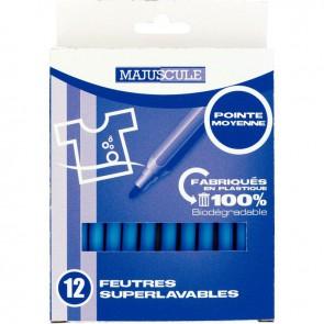 Pochette de 12 feutres pointe moyenne bleu clair