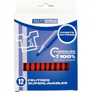 Pochette de 12 feutres pointe moyenne rouge