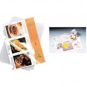 Boite de 100 pochettes à plastifier format 21,6x30,3 cm pour document 21x29,7 cm. En polyester brillant épaisseur 125 microns par face