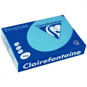 Rame de 500 feuilles de papier 80g de format A3 bleu turquoise TROPHEE CLAIREFONTAINE