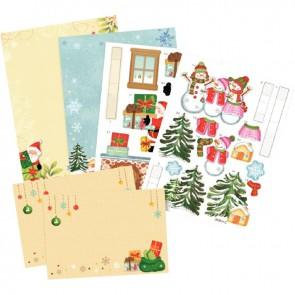 Lot de 2 cartes Pop-up 3D thème Noël