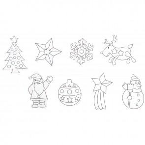 Sachet de 8 formes de Noël à pailleter avec cordelette dorée