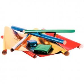 Carton de 10 rouleaux de papier métallisé 1 face 200x70cm couleurs assorties ( bleu, vert, rouge, or et argent )