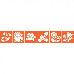 Paquet de 6 pochoirs en plastique thème les fleurs