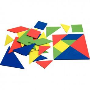 Lot de 4 tangrams en re-plactic 4 couleurs assorties
