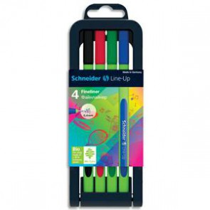 SCHNEIDER Etui chevalet de 4 stylos FINELINER LINK-UP. Pointe nylon 0,4mm. Assortis (Default)