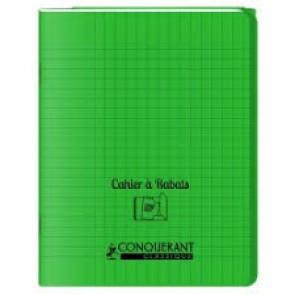 Cahier 24x32, 48 p. couverture plastique PP VERT avec rabats