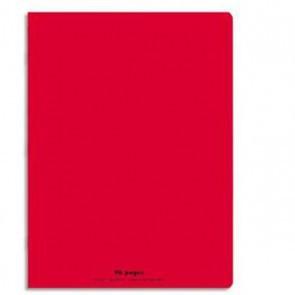 Cahier 24x32, 96 p. couverture plastique PP ROUGE avec rabats
