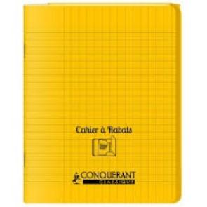 Cahier 24x32 96 p. couverture plastique PP JAUNE avec rabats