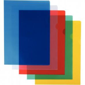 Sachet de 10 pochettes coin en polypropylène 12/100ème format A4 coloris assortis