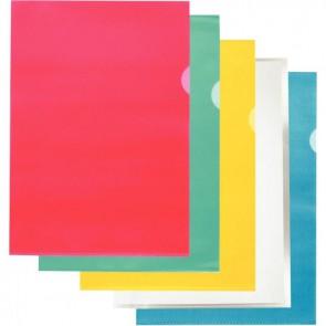 Boite de 100 pochettes coin en polypropylène grainé 9/100ème format A4 coloris assortis