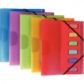 Trieur en polypropylène Color Fresh 6 compartiments, 3 rabats + élastiques