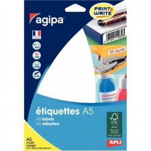Etui de 160 étiquettes de bureau blanches, format 38,5x65 mm