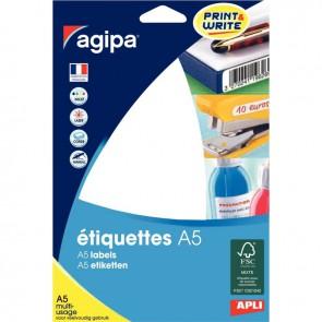 Etui de 48 étiquettes de bureau blanches, format 64x133 mm
