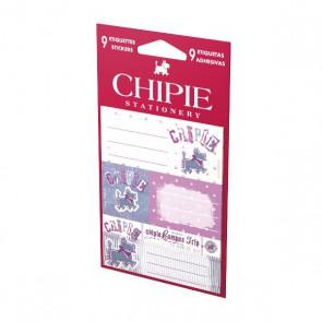 Pochette de 9 étiquettes CHIPIE  pour personnaliser les : classeurs, cahiers