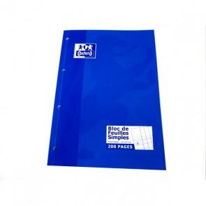 Bloc de feuilles de cours Seyès 200 Pages, Perforées, 90g. ouverture sur le côté