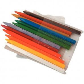 Pochette de 12 crayons plastique forme hexagonale couleurs assorties
