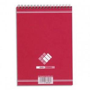 Bloc sténo 180 pages unies spirales format A5 soit : 14,8x 21cm 90 feuilles unies blanches papier 60g.