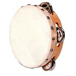Tambourin de basque en peau naturelle diamètre 15 cm, 4 paires de cymballettes