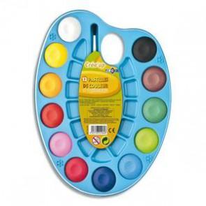 Palette ovale de 12 pastilles de gouache de couleur + 1 pinceau