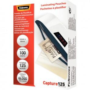 Boîte de 100 pochettes de plastification badge/carte de crédit 54x86mm 125 microns