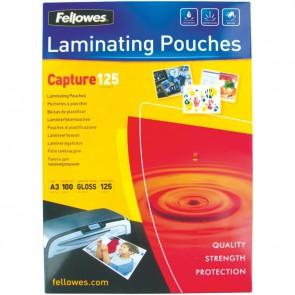 Boite de 100 pochettes à plastifier format 30,3x42,6 cm pour document 29,7x42cm. En polyester brillant épaisseur 125 microns par face