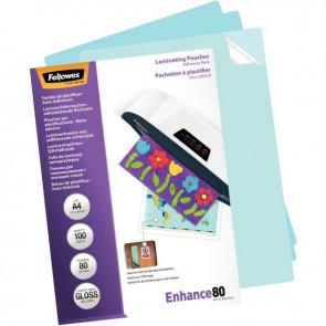 Boite de 100 pochettes à plastifier format 21,6x30,3 cm pour document 21x29,7 cm. En polyester brillant épaisseur 80 microns par face. Avec dos adhésif