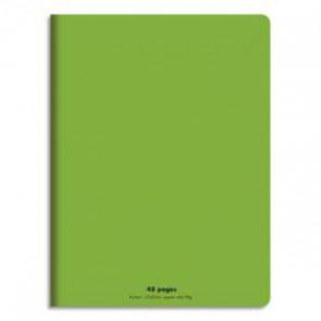 CONQUERANT Cahier piqûre 17x22cm 48 pages 90g séyès grands carreaux. Couverture polypropylène VERT