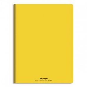 Cahier piqûre 17 x 22 cm 48 pages 90 g grands carreaux. Couverture plastique JAUNE
