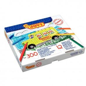 Boîte de 300 crayons plastique 12 couleurs assorties jaune, orange, rose, rouge, marron clair, marron foncé, vert clair, vert foncé, turquoise, bleu France, violet, noir