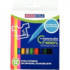 Pochette de 12 feutres pointe moyenne couleurs assorties