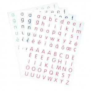 Pochette de 320 gommettes adhésives Alphabet 4 couleurs assorties