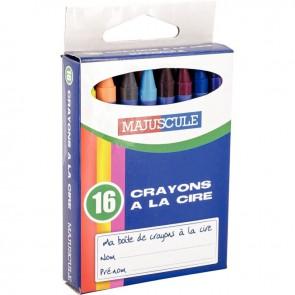 Boîte de 16 crayons à la cire 9 cm couleurs assorties