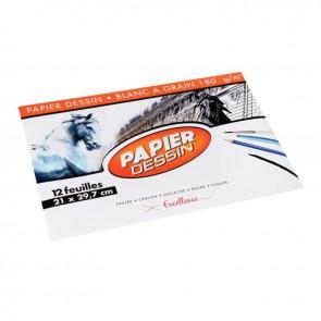 Pochette de 12 feuilles de papier dessin blanc 180 g format 21x29,7 cm