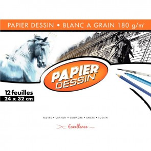 Pochette de 12 feuilles de papier dessin blanc 180 g format 24x32 cm EXCELLENCE