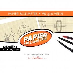Pochette de 12 feuilles de papier millimétré, 90g format 21x29,7 cm EXCELLENCE