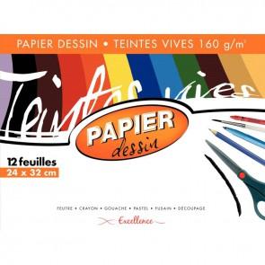 Pochette de 12 feuilles papier dessin 160g couleur format 24x32 cm teintes vives assorties
