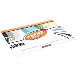 Pochette de 12 feuilles papier dessin couleur format 24x32 cm 160 g teintes pastels assorties : Noir, bleu foncé, bleu, kaki, vert pastel, marron clair, marron foncé, rose, gris, orange clair, orange foncé, beige
