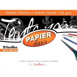 Pochette de 12 feuilles papier dessin noir format 24x32 cm 160 g