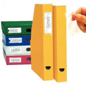 Blister de 12 porte-étiquettes adhésives en polypropylène format 25x75 mm