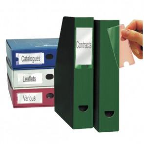 Blister de 6 porte-étiquettes adhésives en polypropylène format 46x75 mm
